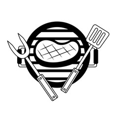 grill barbecue steak fork and spatula vector image