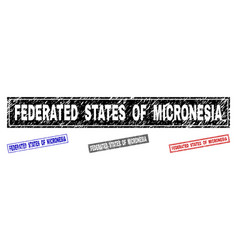 Grunge federated states micronesia scratched vector