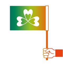 hand holding flag with clover symbol vector image