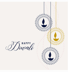 Happy diwali decorative lamps background vector