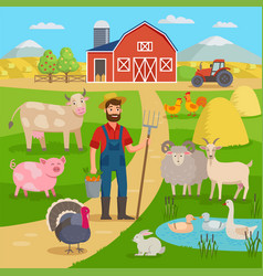 happy farmer with agricultural landscape and farm vector image