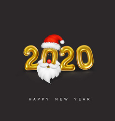 happy new year gold metallic numbers 2020 vector image