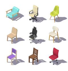 Isometric office chairs vector