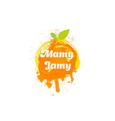 jam logo and emblem fresh fruits and splashes vector image