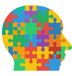 Jigsaw puzzle human head colored background vector