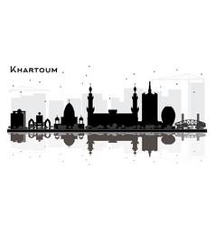 khartoum sudan city skyline silhouette with black vector image