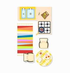 Kitchen interior design icon vector