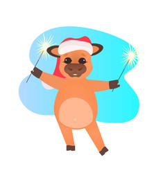 little ox in santa hat holding sparklers happy new vector image