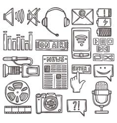 Media sketch icons set vector image