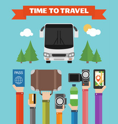Modern concept design time to travel flat vector
