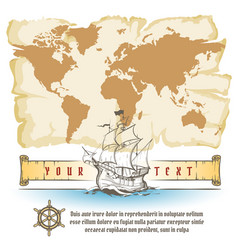Old map and sail retro ship with scroll vector