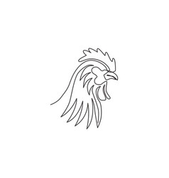 one single line drawing rooster animal vector image