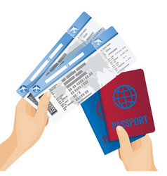 passports and tickets to airplane in human hands vector image