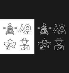 People of canada linear icons set for dark vector