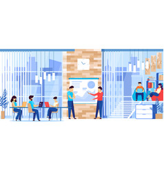 people working in modern spacious business company vector image