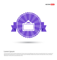 picture frame icon - purple ribbon banner vector image