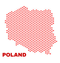 poland map - mosaic of valentine hearts vector image