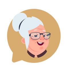 Profile icon senior female head in chat bubble vector