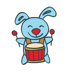 Rabbit with drum happy cartoon vector image