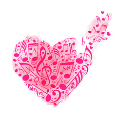 red heart musical notes vector image