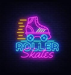 Roller skates neon sign retro quad roller vector