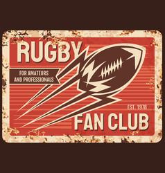 rugby club metal plate rusty american football vector image