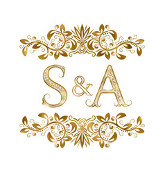 S and a vintage initials logo symbol letters vector