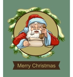 Santa reading letter and talking on phone vector image