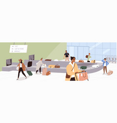 Scene with people at airport baggage claim area vector