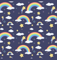 seamless rainbow with cloud and star pattern vector image