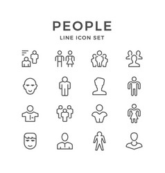 set line icons of people vector image