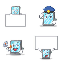 set of tablet character with police megaphone and vector image