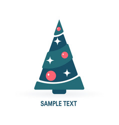 simple christmas tree in flat style vector image