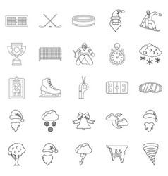 Sport stuff icons set outline style vector