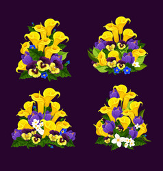 Spring flower icon with blooming floral bouquet vector