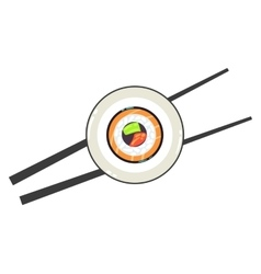 Sushi on plate and a pair of chopsticks vector