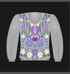 Sweatshirt template with irises vector