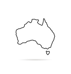 Thin line australia map with shadow vector