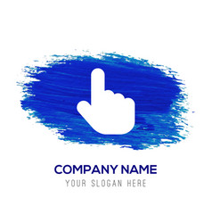 touching hand simple icon - blue watercolor vector image