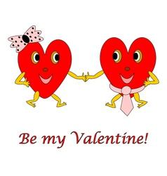 Two funny cartoon hearts vector