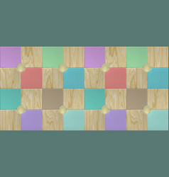 wallpaper design with wooden and multicolored vector image