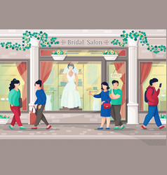 wedding dress salon couple go to shopping in vector image