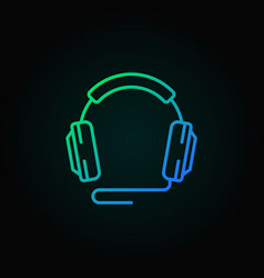 Wired headphones outline colored concept vector