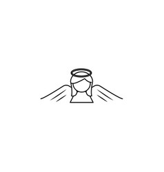 woman angel line icon vector image