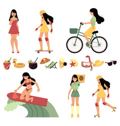 woman in various summer active recreations set and vector image