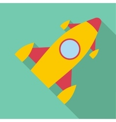 Yellow rocket icon flat style vector image