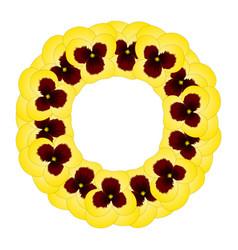 yellow viola garden pansy flower wreath vector image