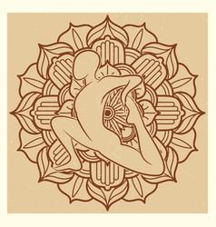 yoga grunge background oriental flower mandala vector image
