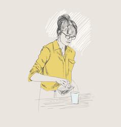 young barista woman in pencil vector image