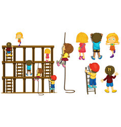 children climbing up ladder and rope vector image vector image